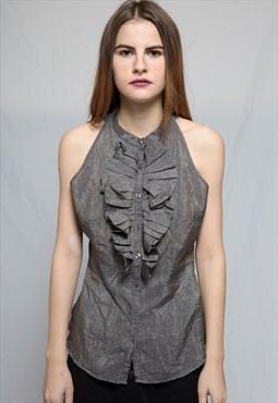 Shiny Lurex Metallic Grey Bow Frill Shirt