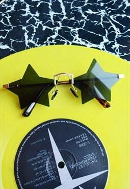 Star Sunglasses - Star Shaped Rimless Black Rockstar 70s