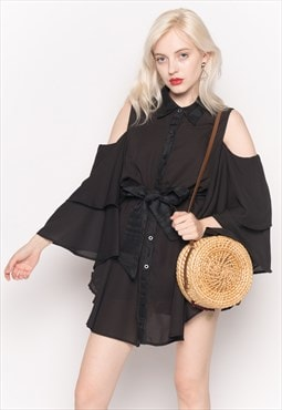 Cold Shoulder Shirt with Flared Sleeves and Mesh Back black