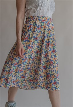 Vintage 80s patterned floral pleated skirt