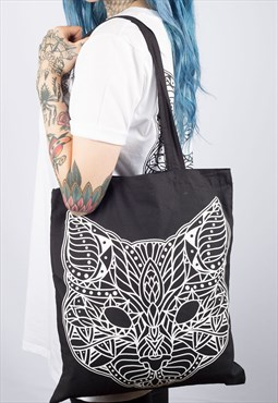 Cat Mandala Tote Bag
