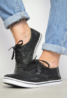 Vintage 90s Vans Black Sequin Skate Shoes Retro Preppy
