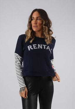 Vintage Cropped Sweatshirt Striped BICH RENTAL Print (ALAQ)