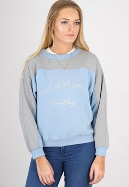 Vintage Blue and Grey Graphic Sweatshirt