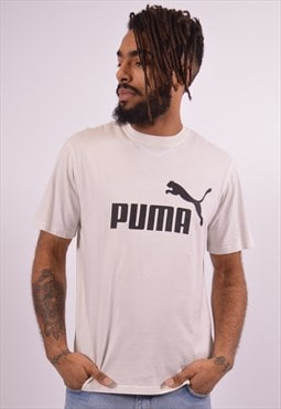Puma Mens Vintage T-Shirt Top Small White 90s