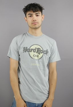 Vintage Hard Rock Cafe Tee Shirt In Grey With Spellout Front