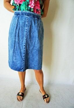 Vintage High Waist Denim Skirt Skirts Midi Jeans Acid Wash