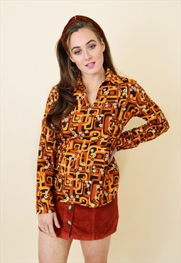 70's vintage psychedelic retro blouse in orange