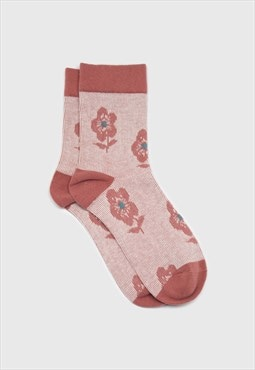 Pink jacquard flower socks