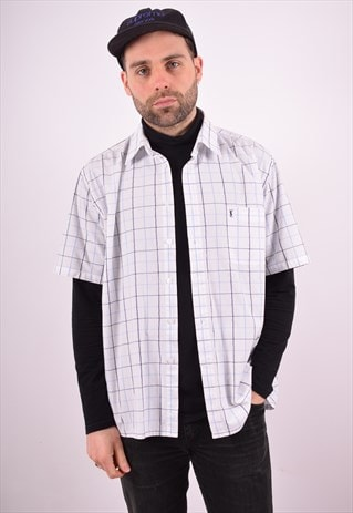 YVES SAINT LAURENT MENS VINTAGE SHIRT XL WHITE CHECK 90'S