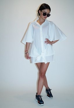 Oversized Shirt White Top Loose Tunic Cape Blouse F1862