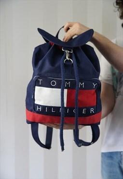 Vintage 90s Tommy Hilfiger flag Backpack rucksack bag blue