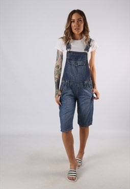 Vintage NO BOUNDARIES Denim Dungaree Shorts UK 8 (BE1R)