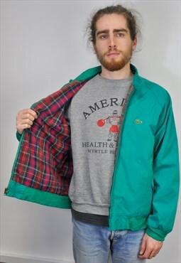 Vintage 80s Lacoste Izod check bomber jacket teal green