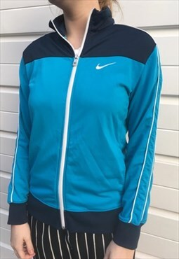 Womens Adidas jacket light blue zipper festival sportswear