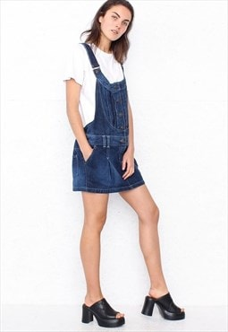 Vintage Blue DICE Mini Denim Pinafore Dress