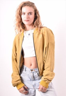 Womens Vintage Bomber Jacket Medium Yellow 90s