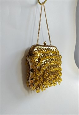 Vintage Mini Beaded Bag - Small Handbag - Top Handle Clutch
