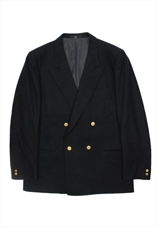 VINTAGE VALENTINO BLUE WOOL BLAZER JACKET DOUBLE-BREASTED