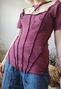 The Burgundy Corset Style Decon Tshirt Keyhole Neck