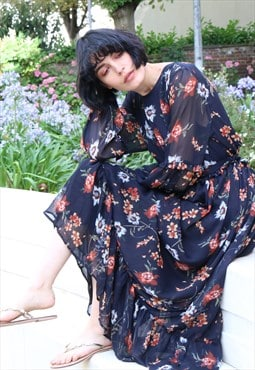 Multi floral print elegant long maxi dress black CY