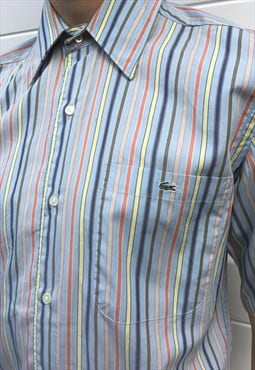 Mens Vintage 90s Lacoste shirt blue stripy short sleeve top