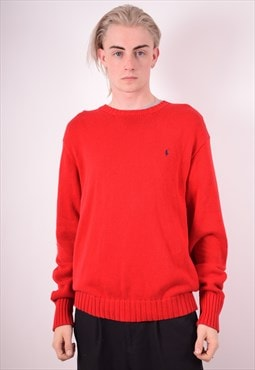 Polo Ralph Lauren Mens Vintage Jumper Sweater XL Red 90s