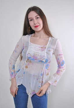 Women white retro spring blouse with floral print