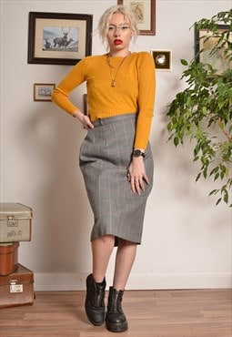 Vintage Check Pattern Pencil Midi Skirt in Grey