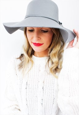 Grey Boho Peasant Floppy Bow Wide Rim Fedora Bowler Hat