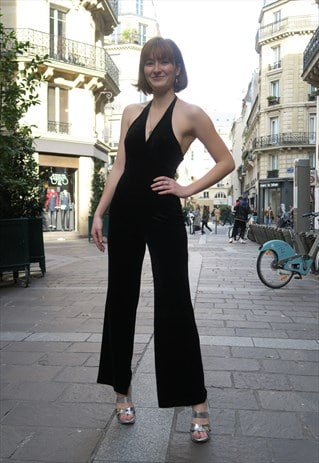 Sleeveless Velvet Jumpsuit