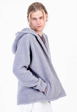 Fleece Jacket in Frost Grey with Side Pockets and Hood