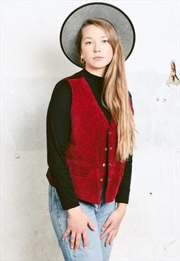 Vintage 90s Burgundy Red Suede Vest