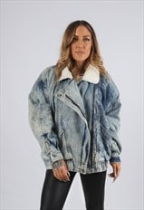 Vintage Sherpa Denim Bomber Jacket Oversized Acid Wash (X5J)