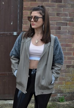 80's Vintage grey leather jacket with half faux fur sleeves
