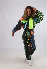 Vintage Full Ski Suit Snow Sports 90's Neon UK 6 - 8 (HBB)