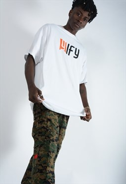 YIFY t-shirt in white with orange logo.