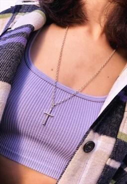 Silver slim neckchain with cross pendant