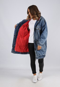 Denim Jacket Hooded Lined Oversized Long UK 14 (BJ3U)