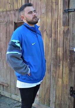 90's vntge Nike rework camo grey fleece sleeve track jacket