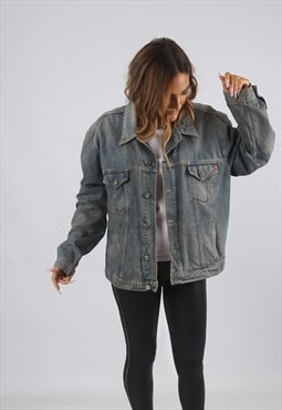 Vintage Denim Jacket Oversized Fitted UK 16 XL (91F)