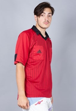 Vintage Red Pinstripe Adidas Football Referee Shirt