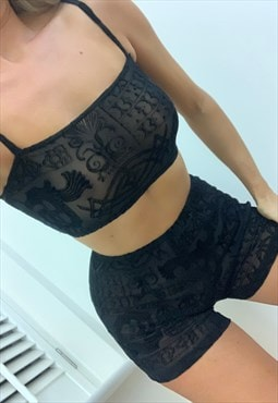 Cami Crop Top & Shorts in Gothic Mesh