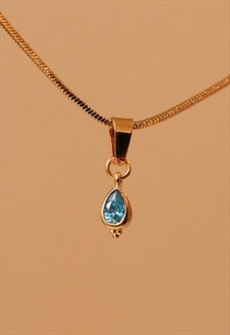 24K Gold Plated BOHEME Aqua Tear Drop Choker Necklace