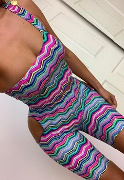 Asymmetric Pin Top & Cut Out Shorts Co-Ord in Neon Zig Zag