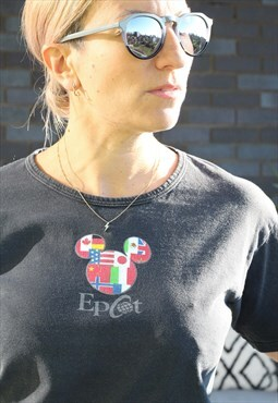 Vintage 1990s Epcot washed black t shirt
