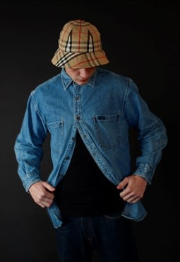 90s Carhartt workwear blue denim shirt
