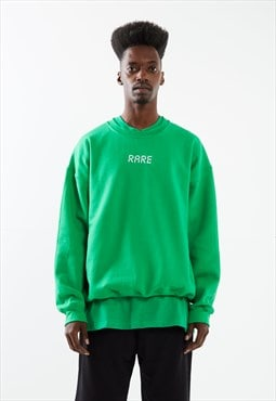 Green Sweatshirt With White Embroidery