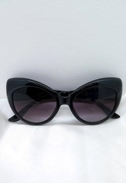 Black Retro Vintage Cat Eye Sunglasses UV400