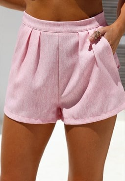 Baby Pink Pleated Shorts
